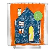 Blue House Get Well Card Shower Curtain