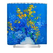 Blue Hydrangeas And Golden Chain Flowers Shower Curtain