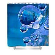 Blue Ice Bubbles Shower Curtain