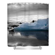 Blue Ice Iceland Shower Curtain