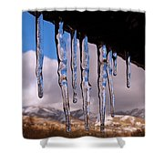 Blue Ice Shower Curtain by Rona Black