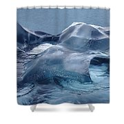 Blue Ice Sculpture Shower Curtain