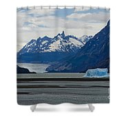 Blue Icebergs On Grey Lake In Patagonia Shower Curtain