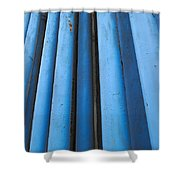 Blue Industrial Pipes Shower Curtain
