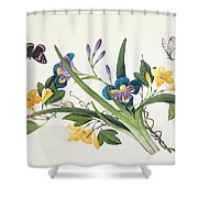 Blue Iris And Insects Shower Curtain