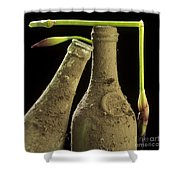 Blue Iris And Old Bottles Shower Curtain