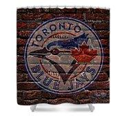Blue Jays Baseball Graffiti On Brick  Shower Curtain by Movie Poster Prints
