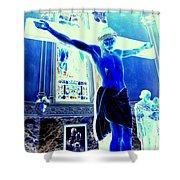 Blue Jesus Shower Curtain