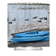 Blue Kayaks On The Shore  Shower Curtain