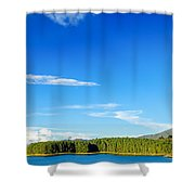 Blue Lake And Green Hills Shower Curtain
