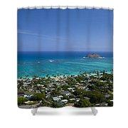 Blue Lanikai Overview Shower Curtain