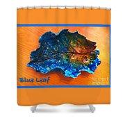 Blue Leaf Ceramic Design 3 Shower Curtain