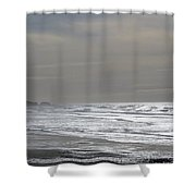 Blue Lighthouse View Shower Curtain