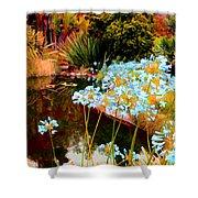 Blue Lily Water Garden Shower Curtain