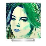 Blue Lips On Green Shower Curtain