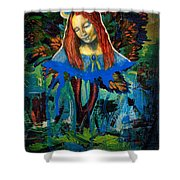 Blue Madonna In Tree Shower Curtain