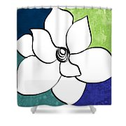Blue Magnolia 2- Floral Art Shower Curtain