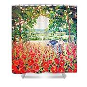 Blue Mare's English Summer Garden Shower Curtain