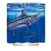 Blue Marlin Bite Off001 Shower Curtain by Carey Chen