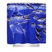 Blue Marlin Round Up Off0031 Shower Curtain by Carey Chen