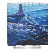 Blue Marlin Strike Off0053 Shower Curtain by Carey Chen