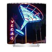 Blue Martini Glass Las Vegas Shower Curtain