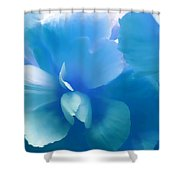 Blue Melody Begonia Floral Shower Curtain