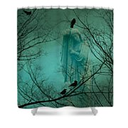 Angel And Crows In A Blue Mist Shower Curtain