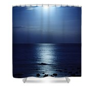 Blue Moon Rising Shower Curtain by Peta Thames