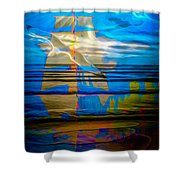 Blue Moonlight With Seagull And Sails Shower Curtain