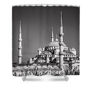 Blue Mosque Black And White Shower Curtain