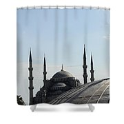 Blue Mosque Dome Behind Hagia Sophia Dome Shower Curtain