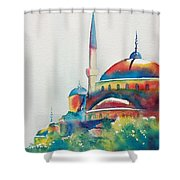 Blue Mosque Sun Kissed Domes Shower Curtain