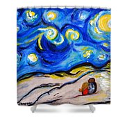 Blue Night Shower Curtain