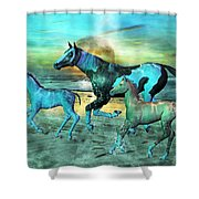 Blue Ocean Horses Shower Curtain