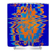 Blue Orange Abstract Shower Curtain