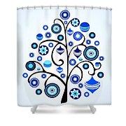 Blue Ornaments Shower Curtain