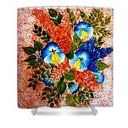 Blue Pansies Bouquet Shower Curtain