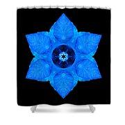 Blue Pansy II Flower Mandala Shower Curtain by David J Bookbinder