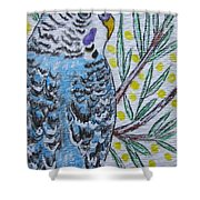 Blue Parakeet Shower Curtain