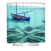 Blue Peace. Maldives Shower Curtain