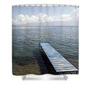 Blue Pier At Lake Ohrid Shower Curtain