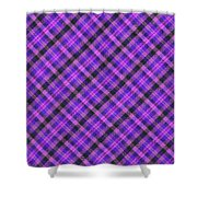 Blue Pink And Black Diagnal Plaid Cloth Background Shower Curtain