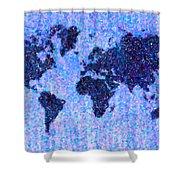 Blue Pointillist World Map Shower Curtain
