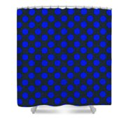 Blue Polka Dots On Black Textile Background Shower Curtain