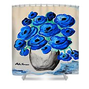 Blue Poppies Shower Curtain by Ramona Matei