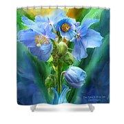 Blue Poppy Bouquet - Square Shower Curtain