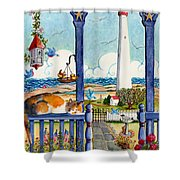 Blue Porch With Cat Shower Curtain