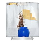 Blue Pot In Oia Town Shower Curtain