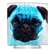 Blue - Pug Pop Art By Sharon Cummings Shower Curtain